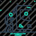 child, child climb on bus, climb, go to school, school, school bus, student icon