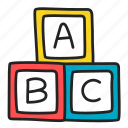 abc, bricks, play, toy icon