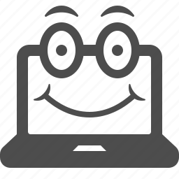 computer, face, happy, informatics, laptop, smile icon