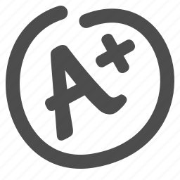 a+, exam, grade, mark, test paper icon