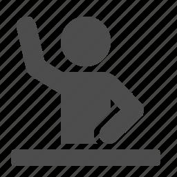 classroom, desk, education, pupil, raising hand, school, student icon