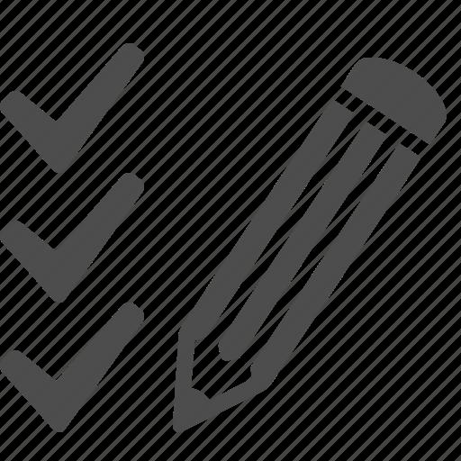 check list, check mark, checklist, pencil, test paper icon