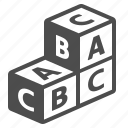 alphabet, letter cube, playing cubes, stack icon