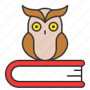book, education, owl, school, study, wisdom icon