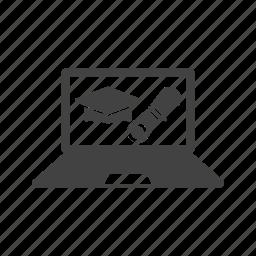 computer, degree, education, graduation, learning, online, university icon