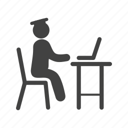 business, computer, laptop, man, student, studying, working icon