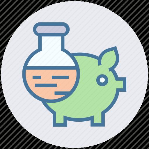 experiment, flask, laboratory, liquid, piggy, piggy lab, science icon