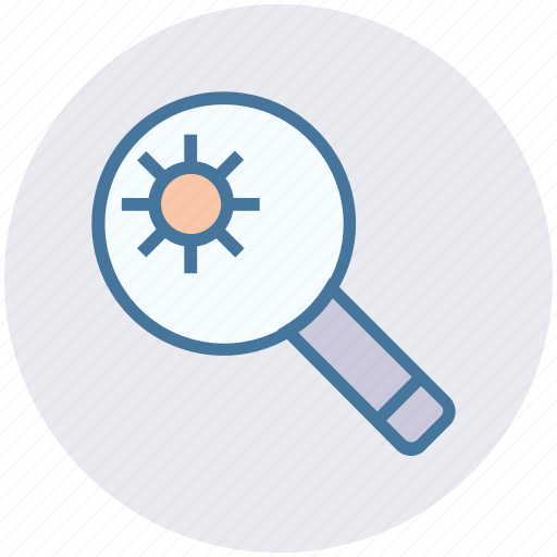 analysis, atom, magnifier, research, science icon