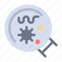 germs, laboratory, magnifier, science icon