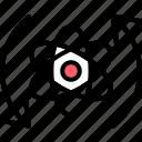 arrow, atom, direction, physics, science, scientific, symbiosis icon