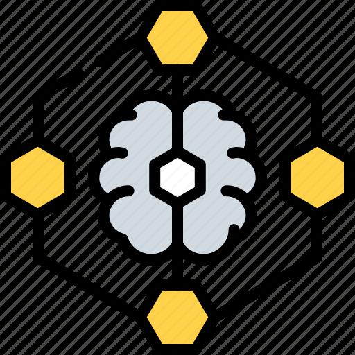 analytics, brain, graph, intelligence, learning, machine, network icon