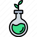 biology, ecology, education, flask, leaf, plant, sprout icon