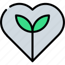 ecology, go green, heart, leaf, love, protection, save icon
