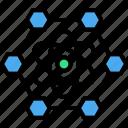 atomic, hexagon, molecules, nano, nanotechnology, structure icon