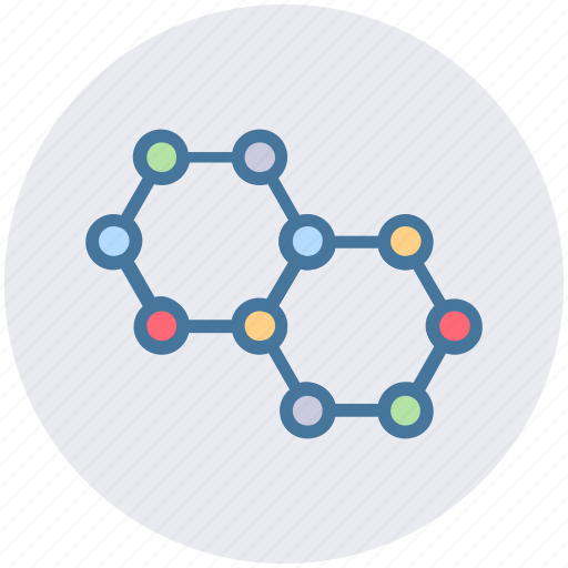 chemistry, cubs, hexagons, molecule, science, study icon
