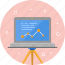 atom, computer, education, graph, laptop, report, science icon