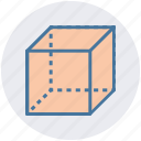 box, cube, geometry, math, science, shape, square icon
