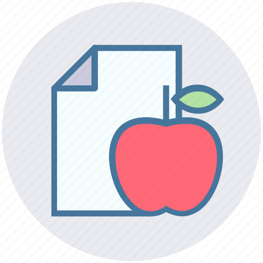 apple, diet, food, fruit, healthy fruit, page, paper icon