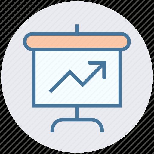 arrow, board, chart, diagram, presentation, statistic, up icon