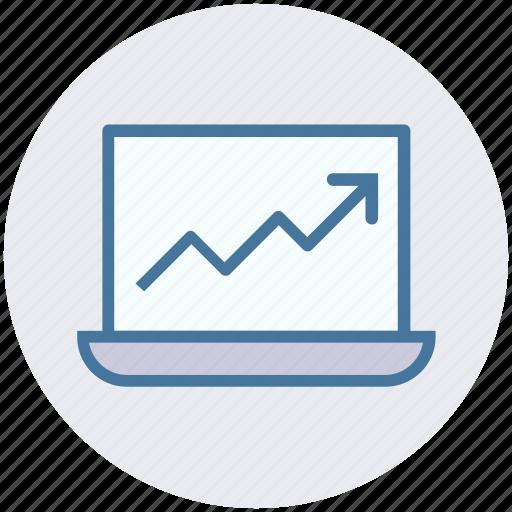 arrow, device, graph, laptop, macbook, notebook, probook icon