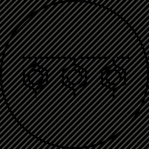 atom, circle, hexagon, polygon, polymer, science icon