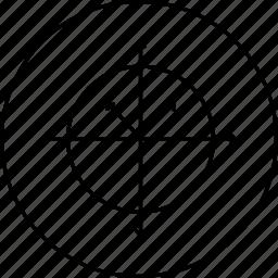 arrow, circle, line, round, science icon