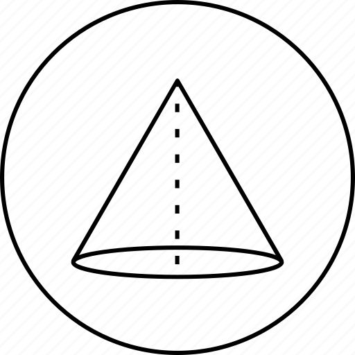 circle, cylinder, dotted, line, round, science, triangle icon
