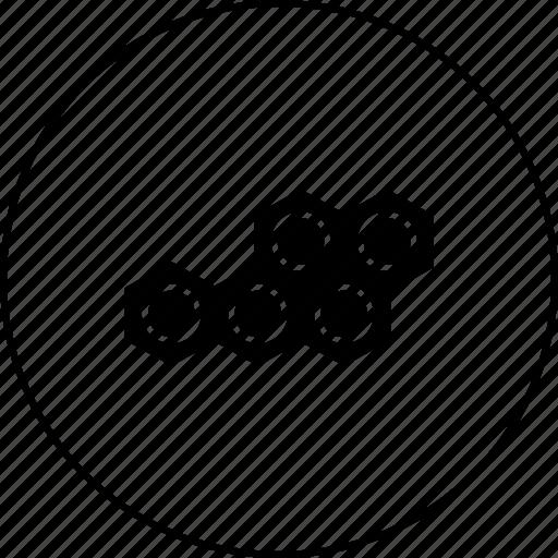 atom, circle, hexagon, mole, polymer, polymor icon