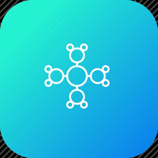 atom, attract, circle, ionize, mole, molecule icon