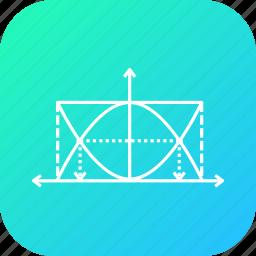 centre, cosie, graph, negative, positive, sine, wave icon
