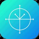 arrow, circle, line, round, science