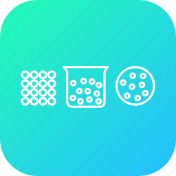 atom, beaker, ionized, liquid, mole, science, solid icon