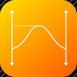 full, graph, half, ionized, positive, sine, wave icon