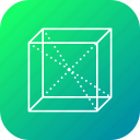 box, centroid, cube, line, science, square icon