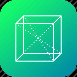 box, centroid, cube, line, science, square icon