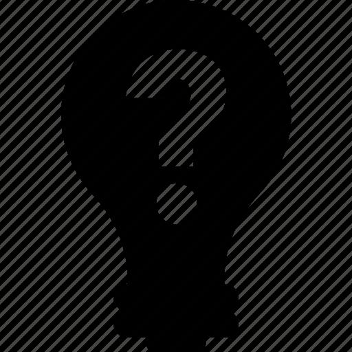 bulb, energy, faq, idea, question sign icon