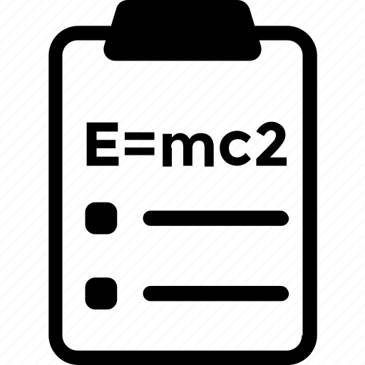 chemistry, clipboard, education, emc2, physics icon