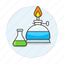 flask, chemical, lab, alcohol, science, technology, erlenmeyer, experiments, burner icon