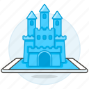 castle, gaming, hologram, phone, reality, tablet, virtual, vr icon