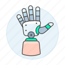 prosthetic, hand, artificial, science, prosthesis, limb, futuristic, cyborg, technology, electronic icon