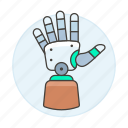prosthetic, hand, limb, artificial, 3, prosthesis, electronic, futuristic, science, cyborg, technology icon