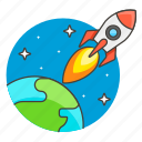 boost, explore, interplanetary, journey, outer, planet, science, space, spaceship, technology icon