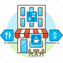 cafe, coffee, court, food, interface, navigation, navigator, reality, shop, shopping, store, virtual, vr