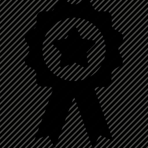 award, badge, emblem, ribbon, star badge icon