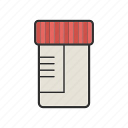 bottle, checkup, diagnosis, exam jar, medical container, plastic, sample icon