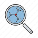 experiment, explore, loupe, magnifier, research, science, searching icon