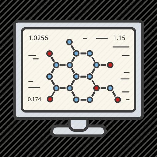 bioinformatics, lab, laboratory computer, molecule, pc, research, science icon