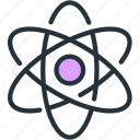 atomic, electron, nuclear, physics, science icon