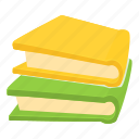 book, cartoon, education, mathematics, school, stack, two icon