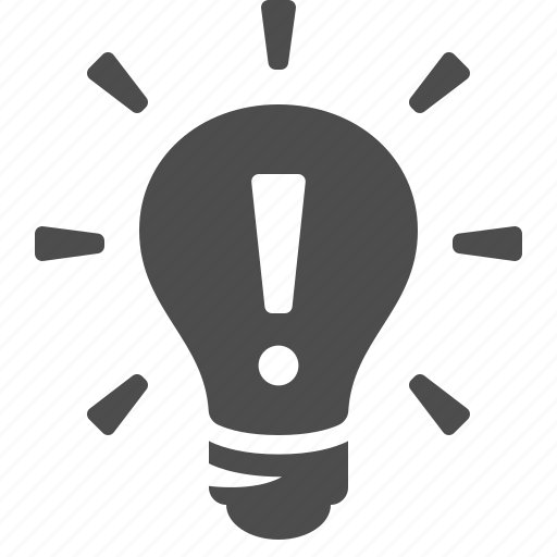 bright, exclamation mark, idea, invention, light bulb, lightbulb icon